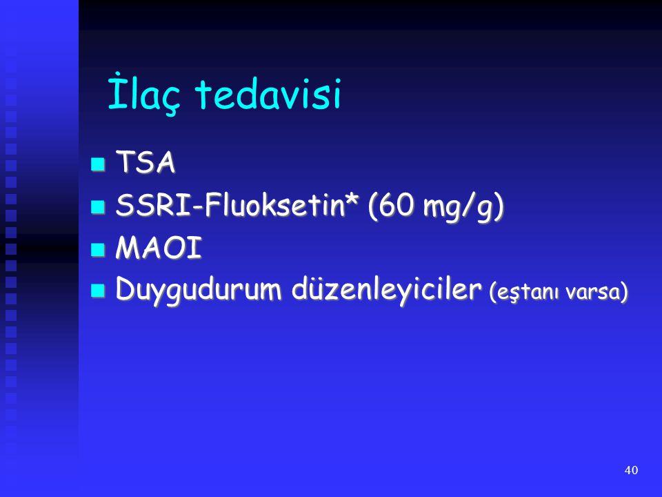 40 İlaç tedavisi TSA TSA SSRI-Fluoksetin* (60 mg/g) SSRI-Fluoksetin* (60 mg/g) MAOI MAOI Duygudurum düzenleyiciler (eştanı varsa) Duygudurum düzenleyiciler (eştanı varsa)