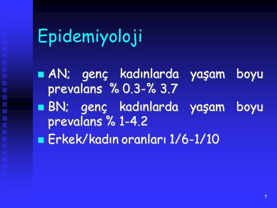 8 Başlangıç AN; en sık 15-19 yaş grubunda AN; en sık 15-19 yaş grubunda BN; genellikle AN'dan daha geç, ergenliğin sonları ya da erken erişkinlikte BN; genellikle AN'dan daha geç, ergenliğin sonları ya da erken erişkinlikte