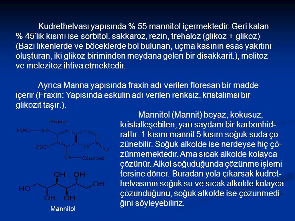 Kudrethelvası yapısında % 55 mannitol içermektedir.