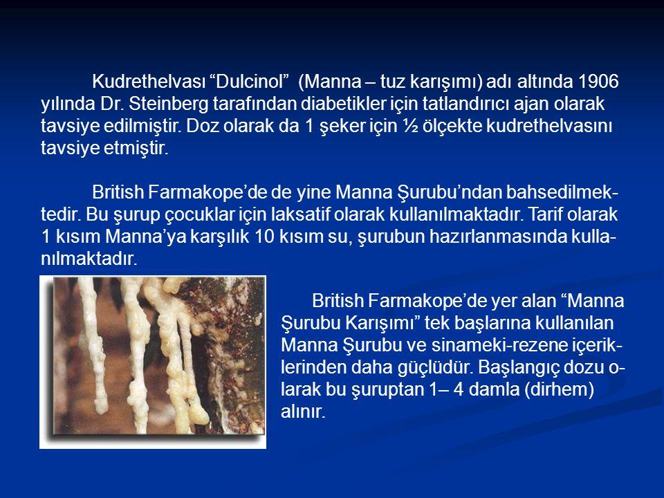 Kudrethelvası Dulcinol (Manna – tuz karışımı) adı altında 1906 yılında Dr.