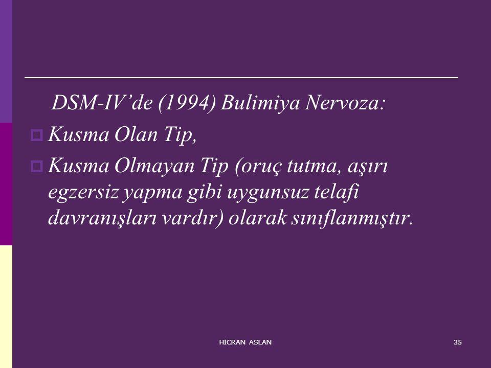 HİCRAN ASLAN35 DSM-IV'de (1994) Bulimiya Nervoza:  Kusma Olan Tip,  Kusma Olmayan Tip (oruç tutma, aşırı egzersiz yapma gibi uygunsuz telafi davranı