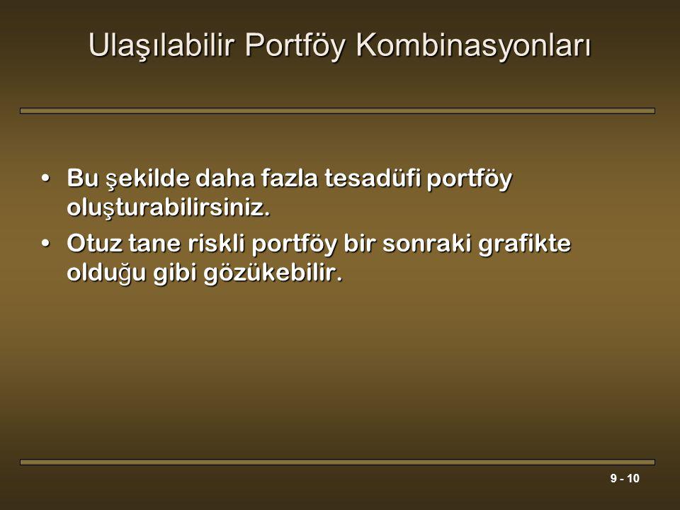 9 - 10 Ulaşılabilir Portföy Kombinasyonları Bu ş ekilde daha fazla tesadüfi portföy olu ş turabilirsiniz.Bu ş ekilde daha fazla tesadüfi portföy olu ş