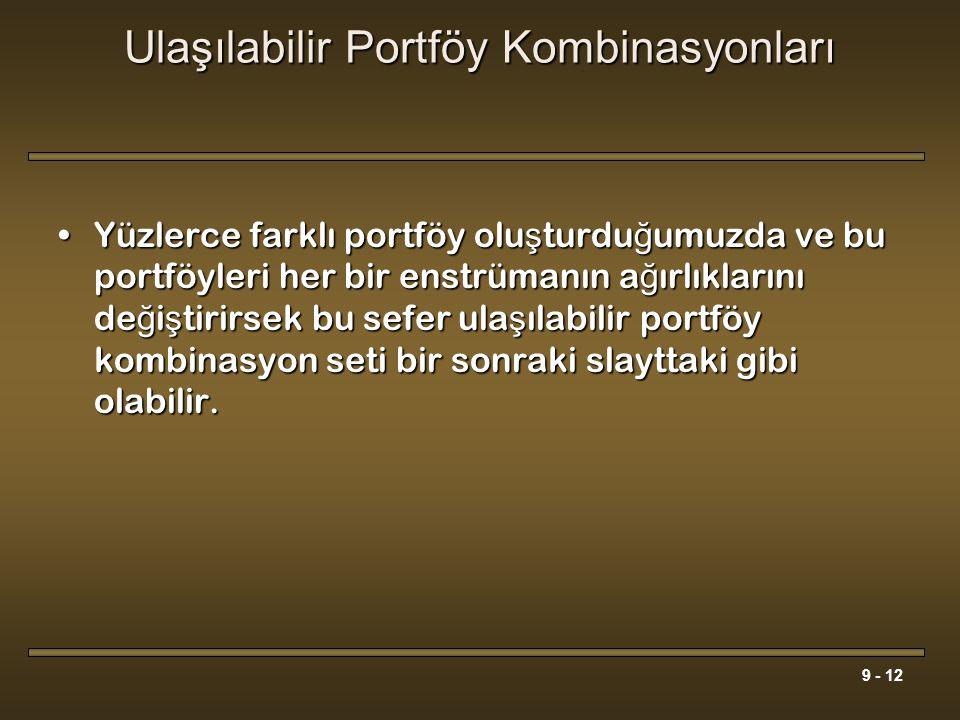 9 - 12 Ulaşılabilir Portföy Kombinasyonları Yüzlerce farklı portföy olu ş turdu ğ umuzda ve bu portföyleri her bir enstrümanın a ğ ırlıklarını de ğ i