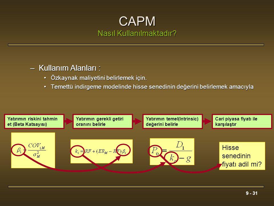 9 - 31 CAPM Nasıl Kullanılmaktadır? –Kullanım Alanları : Özkaynak maliyetini belirlemek için.Özkaynak maliyetini belirlemek için. Temettü indirgeme mo