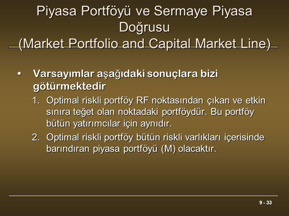 9 - 33 Piyasa Portföyü ve Sermaye Piyasa Doğrusu (Market Portfolio and Capital Market Line) Varsayımlar a ş a ğ ıdaki sonuçlara bizi götürmektedirVars