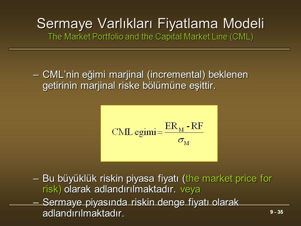 9 - 35 Sermaye Varlıkları Fiyatlama Modeli The Market Portfolio and the Capital Market Line (CML) –CML'nin eğimi marjinal (incremental) beklenen getir