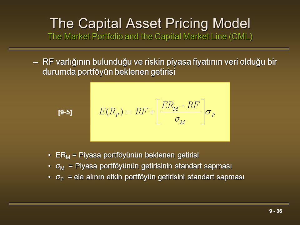 9 - 36 The Capital Asset Pricing Model The Market Portfolio and the Capital Market Line (CML) –RF varlığının bulunduğu ve riskin piyasa fiyatının veri