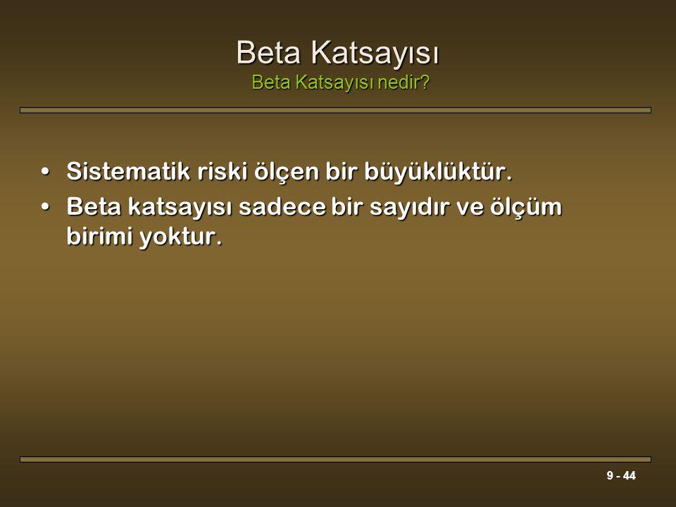 9 - 44 Beta Katsayısı Beta Katsayısı nedir? Sistematik riski ölçen bir büyüklüktür.Sistematik riski ölçen bir büyüklüktür. Beta katsayısı sadece bir s