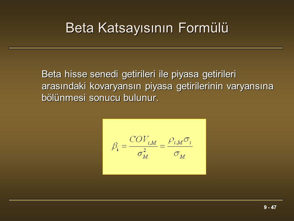 9 - 47 Beta Katsayısının Formülü Beta hisse senedi getirileri ile piyasa getirileri arasındaki kovaryansın piyasa getirilerinin varyansına bölünmesi s