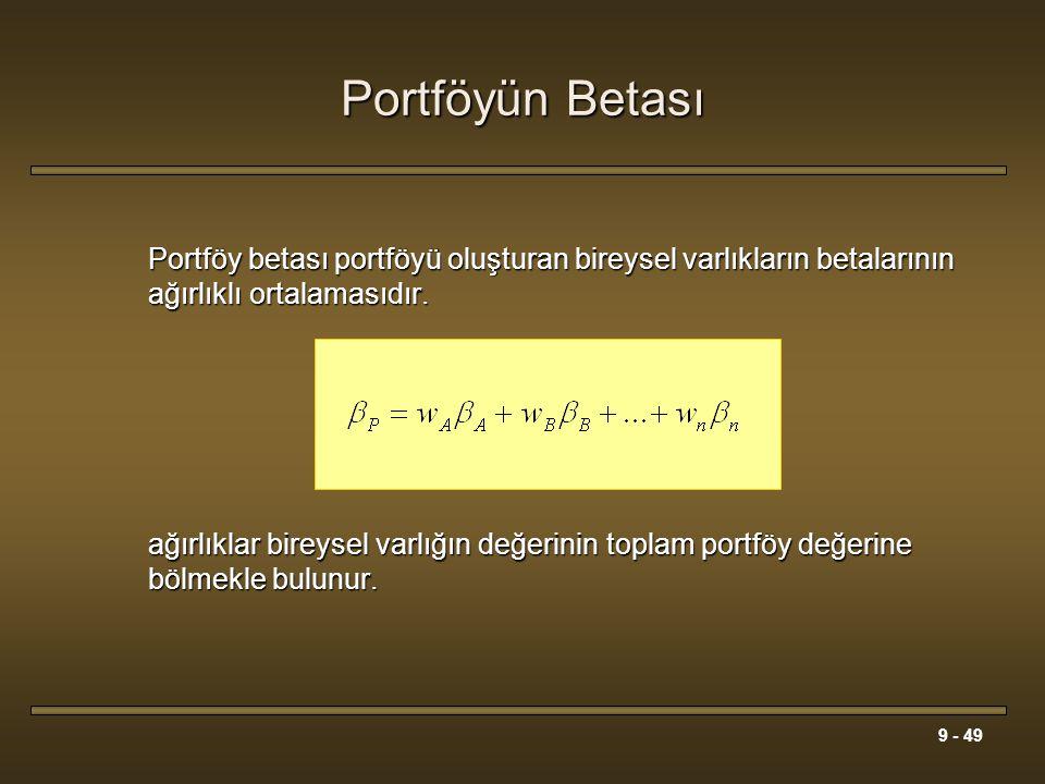 9 - 49 Portföyün Betası Portföy betası portföyü oluşturan bireysel varlıkların betalarının ağırlıklı ortalamasıdır. ağırlıklar bireysel varlığın değer