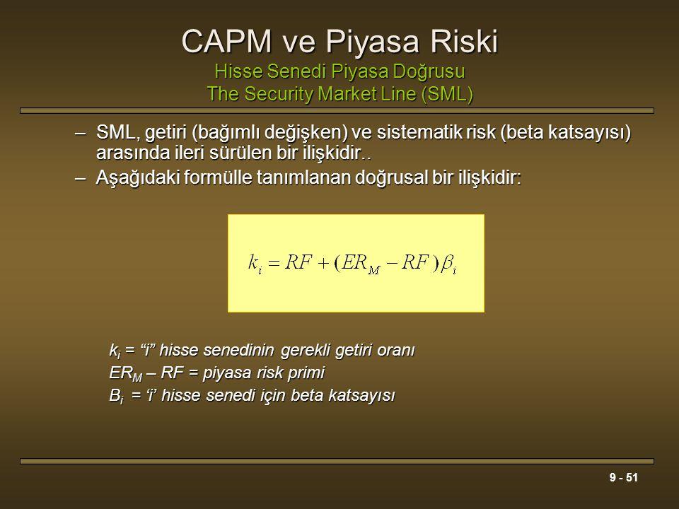 9 - 51 CAPM ve Piyasa Riski Hisse Senedi Piyasa Doğrusu The Security Market Line (SML) –SML, getiri (bağımlı değişken) ve sistematik risk (beta katsay