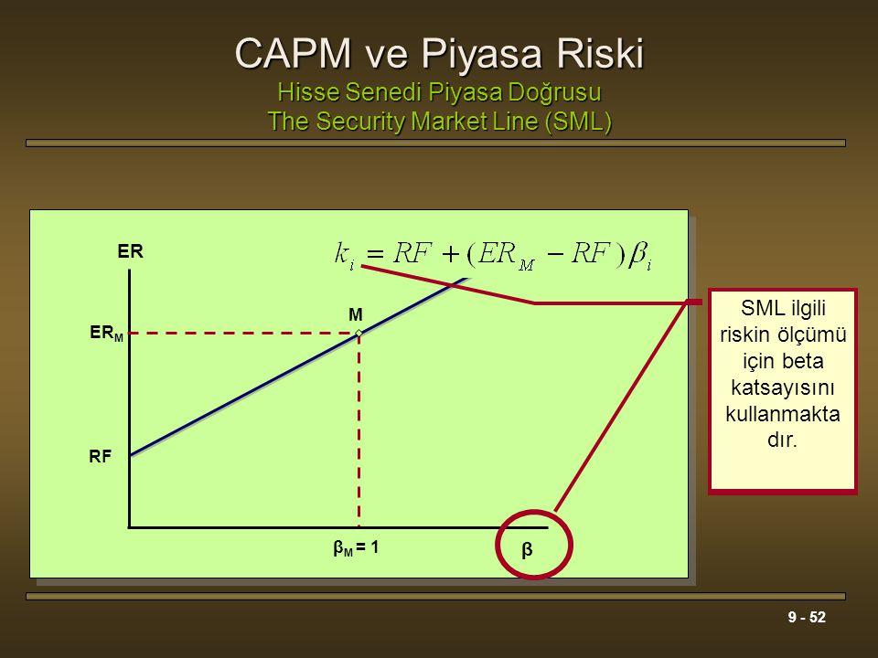 9 - 52 CAPM ve Piyasa Riski Hisse Senedi Piyasa Doğrusu The Security Market Line (SML) β M = 1 ER RF β M ER M SML hisse senedinin gerekli getiri oranı
