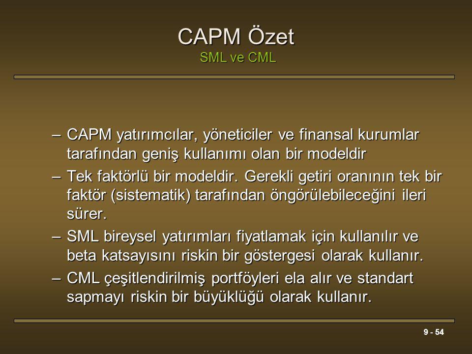 9 - 54 CAPM Özet SML ve CML –CAPM yatırımcılar, yöneticiler ve finansal kurumlar tarafından geniş kullanımı olan bir modeldir –Tek faktörlü bir modeld