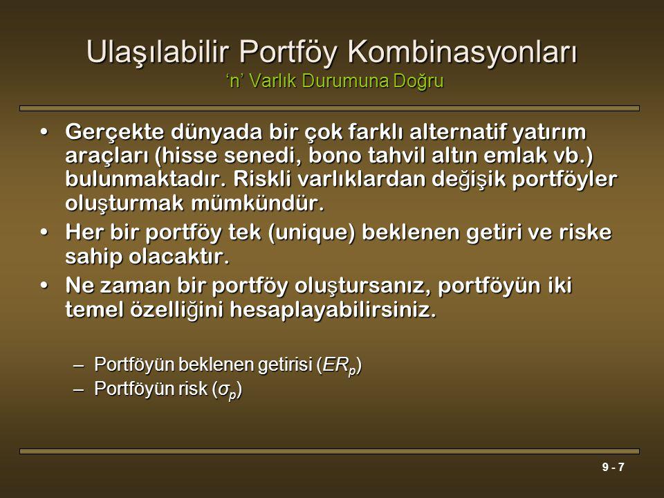 9 - 7 Ulaşılabilir Portföy Kombinasyonları 'n' Varlık Durumuna Doğru Gerçekte dünyada bir çok farklı alternatif yatırım araçları (hisse senedi, bono t