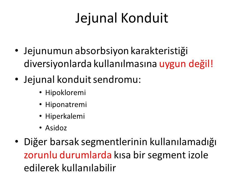Jejunal Konduit Jejunumun absorbsiyon karakteristiği diversiyonlarda kullanılmasına uygun değil! Jejunal konduit sendromu: Hipokloremi Hiponatremi Hip