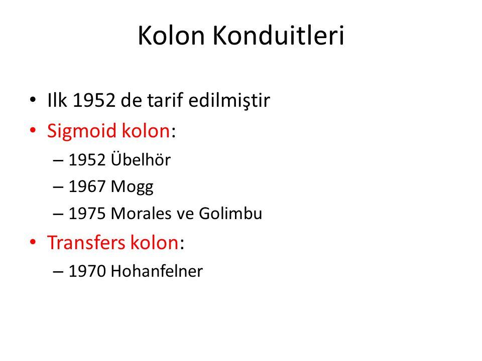 Kolon Konduitleri Ilk 1952 de tarif edilmiştir Sigmoid kolon: – 1952 Übelhör – 1967 Mogg – 1975 Morales ve Golimbu Transfers kolon: – 1970 Hohanfelner