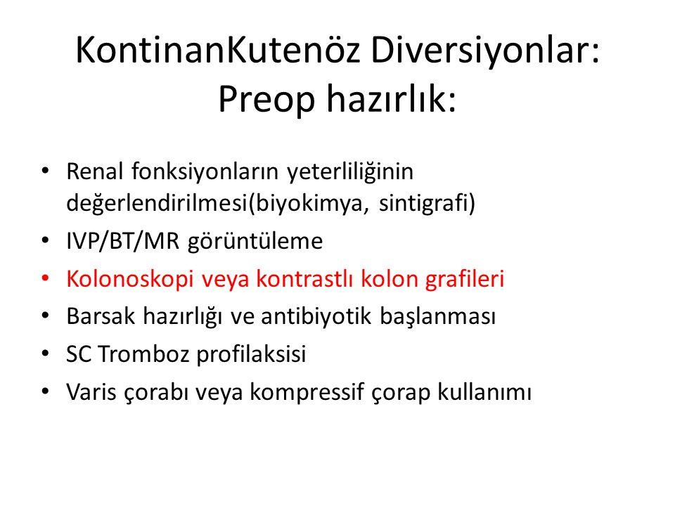 KontinanKutenöz Diversiyonlar: Preop hazırlık: Renal fonksiyonların yeterliliğinin değerlendirilmesi(biyokimya, sintigrafi) IVP/BT/MR görüntüleme Kolo