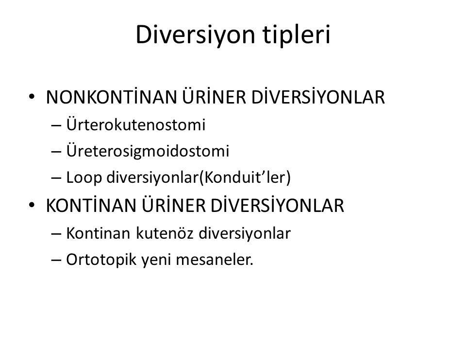Diversiyon tipleri NONKONTİNAN ÜRİNER DİVERSİYONLAR – Ürterokutenostomi – Üreterosigmoidostomi – Loop diversiyonlar(Konduit'ler) KONTİNAN ÜRİNER DİVER