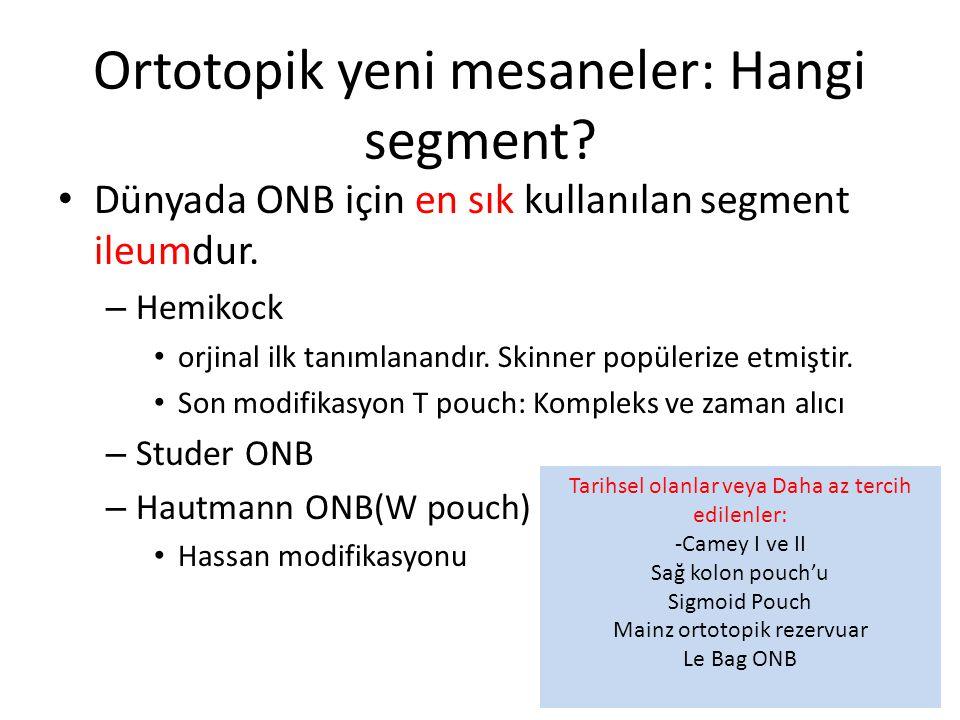 Ortotopik yeni mesaneler: Hangi segment? Dünyada ONB için en sık kullanılan segment ileumdur. – Hemikock orjinal ilk tanımlanandır. Skinner popülerize