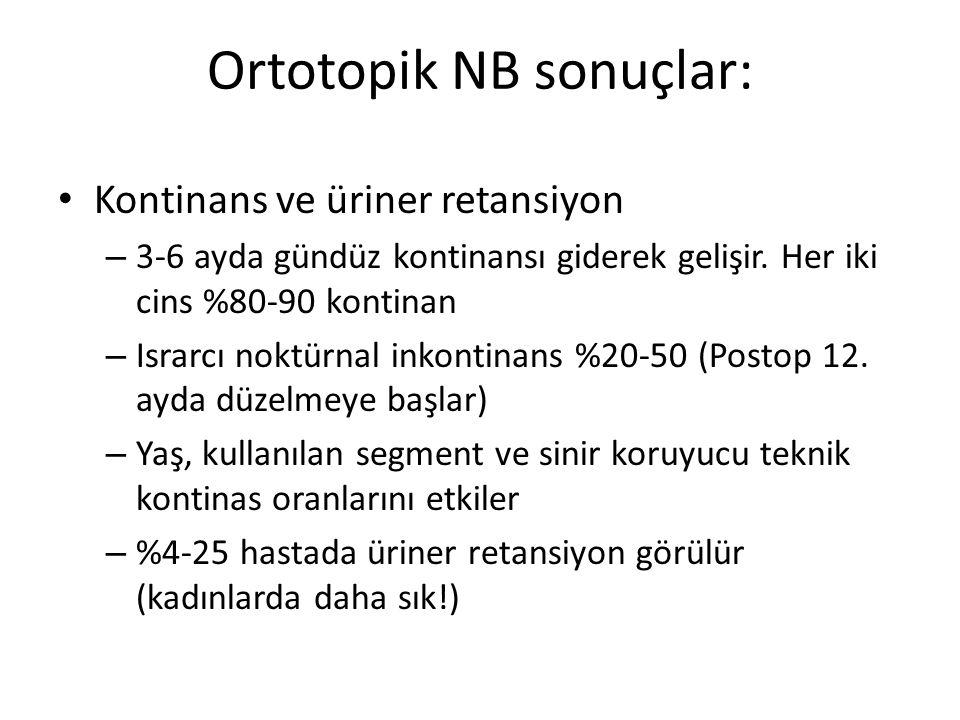 Ortotopik NB sonuçlar: Kontinans ve üriner retansiyon – 3-6 ayda gündüz kontinansı giderek gelişir. Her iki cins %80-90 kontinan – Israrcı noktürnal i