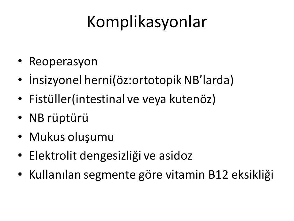 Komplikasyonlar Reoperasyon İnsizyonel herni(öz:ortotopik NB'larda) Fistüller(intestinal ve veya kutenöz) NB rüptürü Mukus oluşumu Elektrolit dengesiz