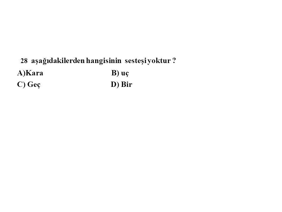 28 aşağıdakilerden hangisinin sesteşi yoktur ? A)Kara B) uç C) Geç D) Bir