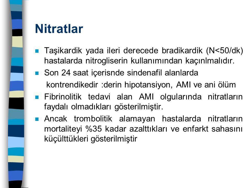 Nitratlar n Taşikardik yada ileri derecede bradikardik (N<50/dk) hastalarda nitrogliserin kullanımından kaçınlmalıdır. n Son 24 saat içerisnde sindena
