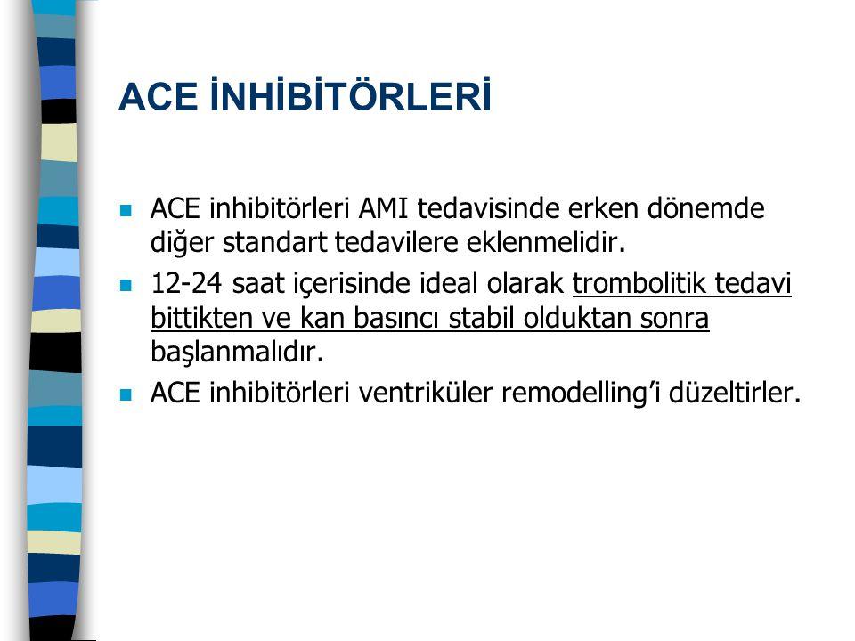 ACE İNHİBİTÖRLERİ n ACE inhibitörleri AMI tedavisinde erken dönemde diğer standart tedavilere eklenmelidir. n 12-24 saat içerisinde ideal olarak tromb