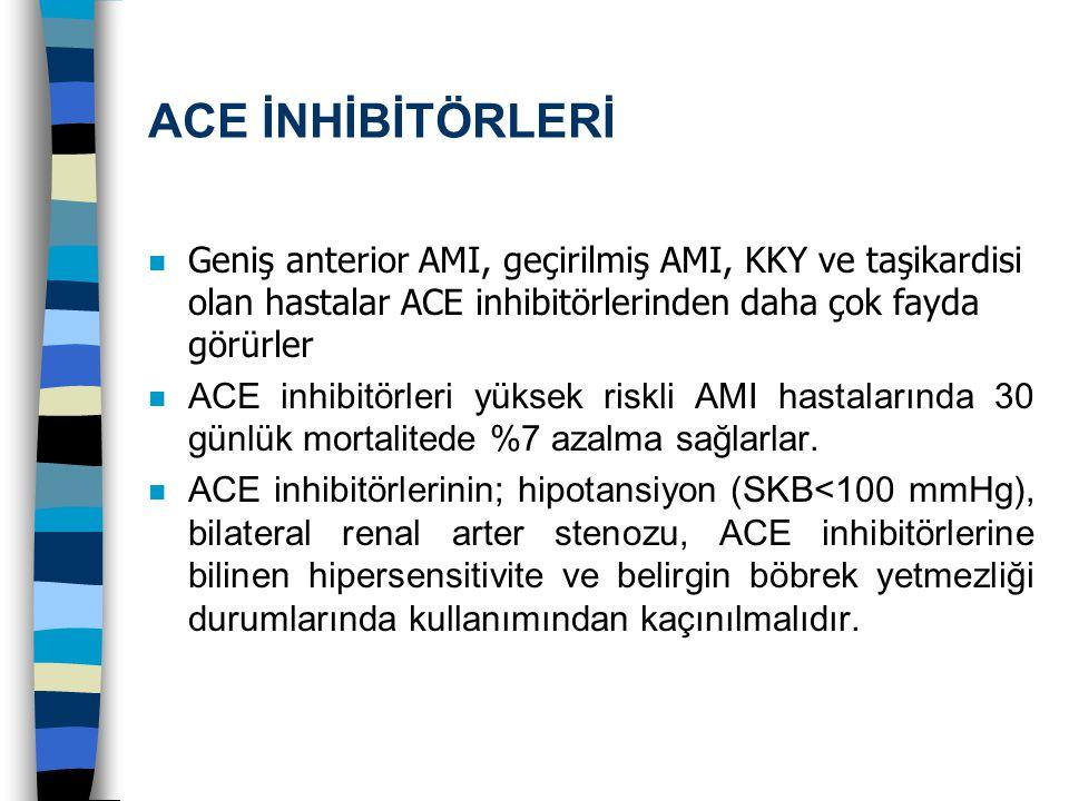 ACE İNHİBİTÖRLERİ Geniş anterior AMI, geçirilmiş AMI, KKY ve taşikardisi olan hastalar ACE inhibitörlerinden daha çok fayda görürler n ACE inhibitörle
