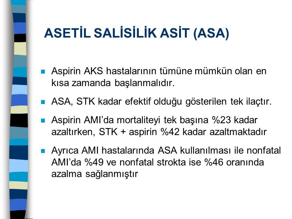 ASETİL SALİSİLİK ASİT (ASA) n Aspirin AKS hastalarının tümüne mümkün olan en kısa zamanda başlanmalıdır. n ASA, STK kadar efektif olduğu gösterilen te