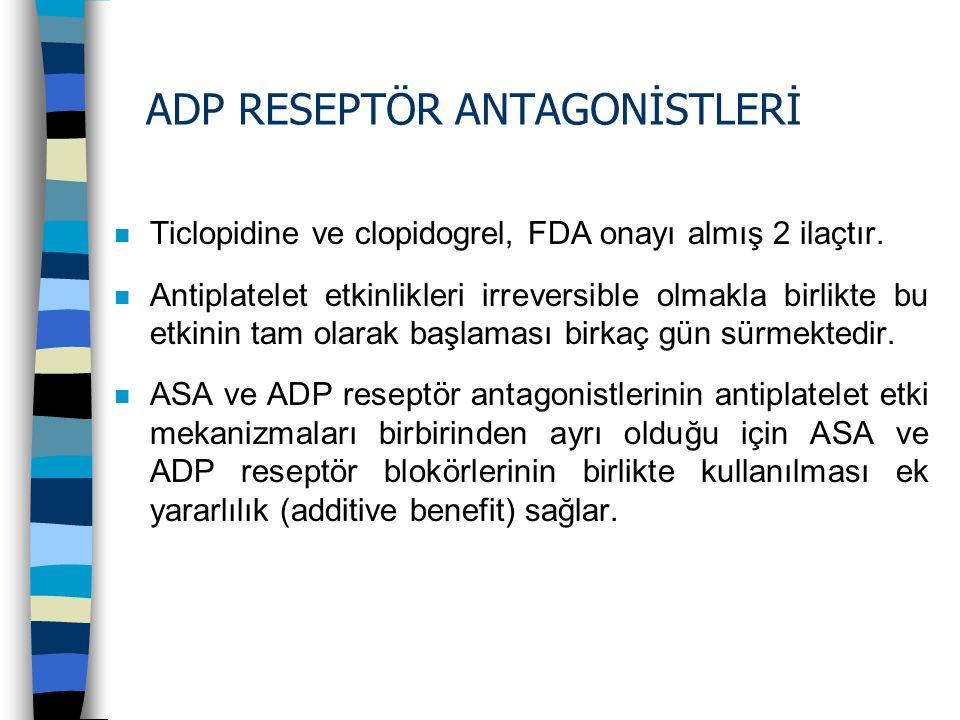 ADP RESEPTÖR ANTAGONİSTLERİ n Ticlopidine ve clopidogrel, FDA onayı almış 2 ilaçtır. n Antiplatelet etkinlikleri irreversible olmakla birlikte bu etki