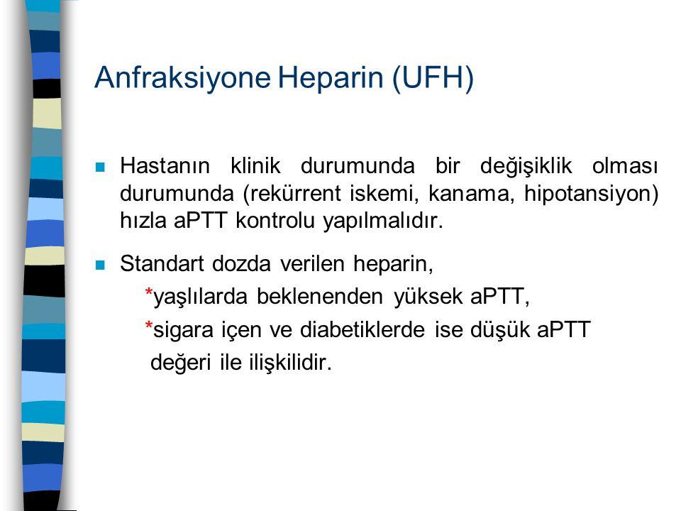 Anfraksiyone Heparin (UFH) n Hastanın klinik durumunda bir değişiklik olması durumunda (rekürrent iskemi, kanama, hipotansiyon) hızla aPTT kontrolu ya