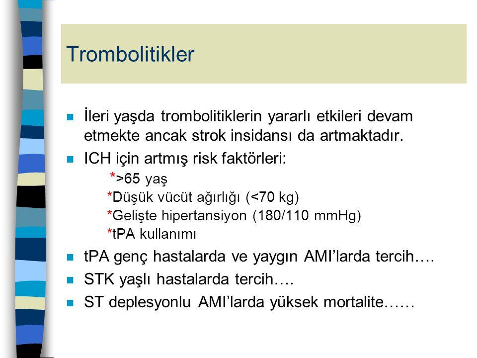 Trombolitikler n İleri yaşda trombolitiklerin yararlı etkileri devam etmekte ancak strok insidansı da artmaktadır. n ICH için artmış risk faktörleri: