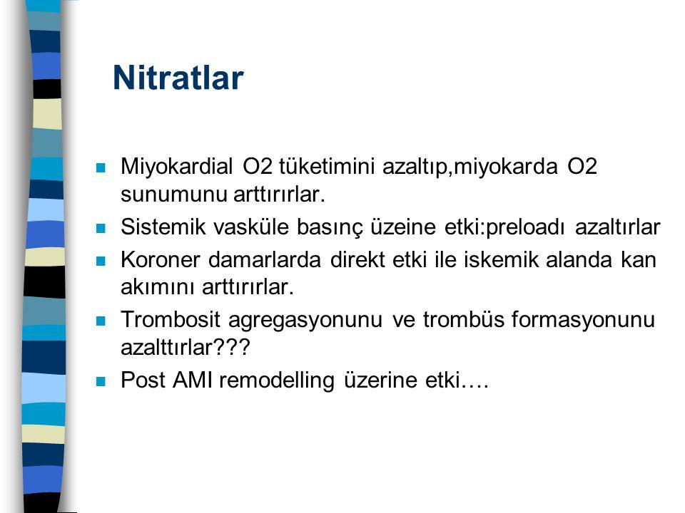 Nitratlar n Miyokardial O2 tüketimini azaltıp,miyokarda O2 sunumunu arttırırlar. n Sistemik vasküle basınç üzeine etki:preloadı azaltırlar n Koroner d