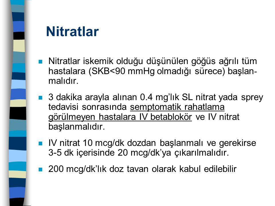 Nitratlar Nitratlar iskemik olduğu düşünülen göğüs ağrılı tüm hastalara (SKB<90 mmHg olmadığı sürece) başlan - malıdır. n 3 dakika arayla alınan 0.4 m