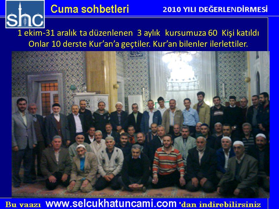 1 ekim-31 aralık ta düzenlenen 3 aylık kursumuza 60 Kişi katıldı Onlar 10 derste Kur'an'a geçtiler. Kur'an bilenler ilerlettiler.