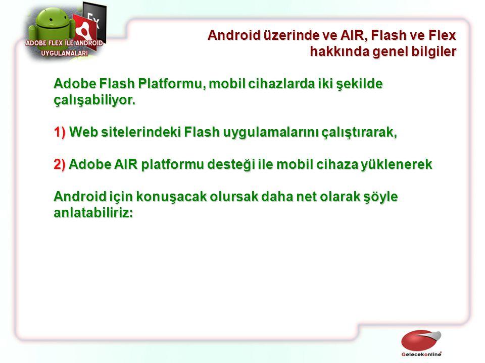Adobe Flash Platformu, mobil cihazlarda iki şekilde çalışabiliyor. 1) Web sitelerindeki Flash uygulamalarını çalıştırarak, 2) Adobe AIR platformu dest