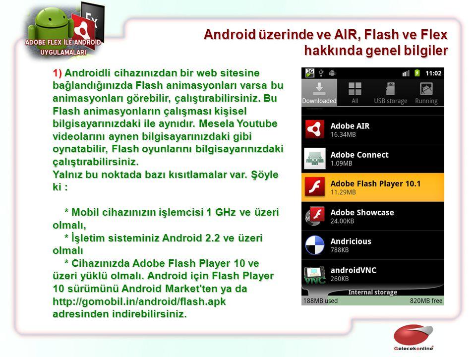 1) Androidli cihazınızdan bir web sitesine bağlandığınızda Flash animasyonları varsa bu animasyonları görebilir, çalıştırabilirsiniz. Bu Flash animasy