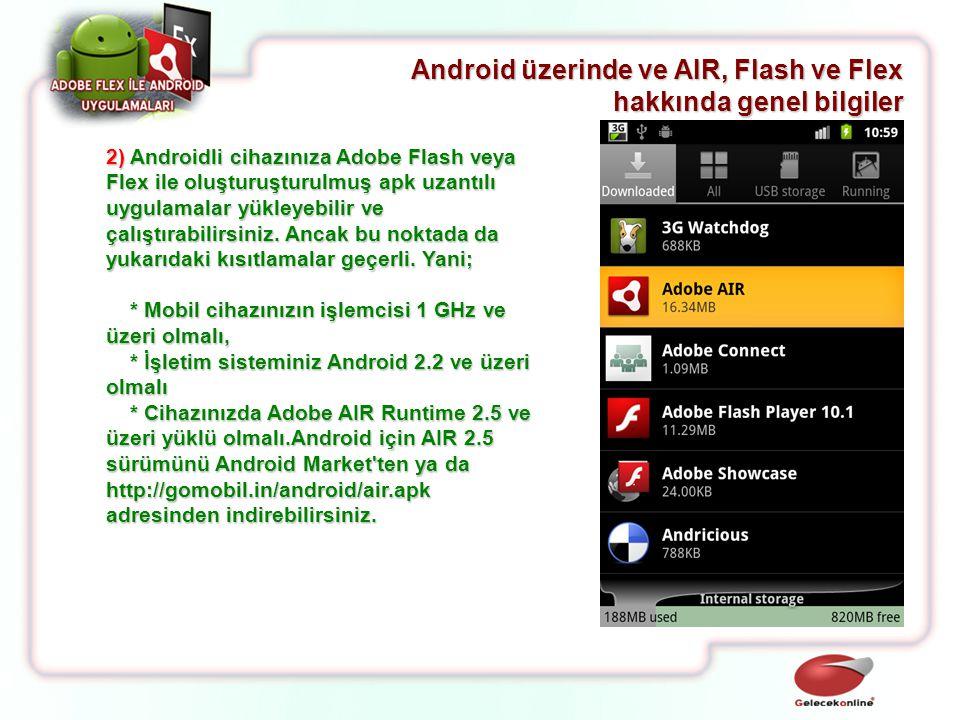 2) Androidli cihazınıza Adobe Flash veya Flex ile oluşturuşturulmuş apk uzantılı uygulamalar yükleyebilir ve çalıştırabilirsiniz. Ancak bu noktada da