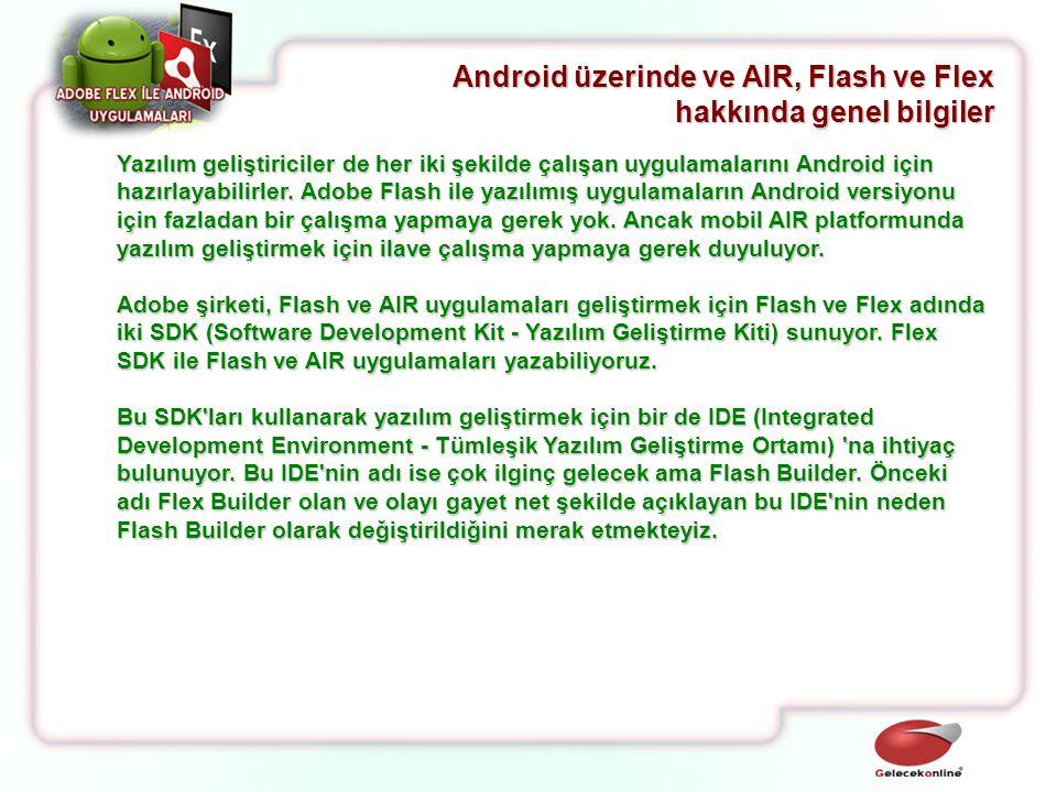 Yazılım geliştiriciler de her iki şekilde çalışan uygulamalarını Android için hazırlayabilirler. Adobe Flash ile yazılımış uygulamaların Android versi