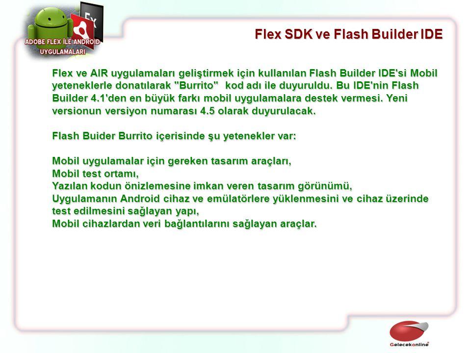 Flex ve AIR uygulamaları geliştirmek için kullanılan Flash Builder IDE'si Mobil yeteneklerle donatılarak