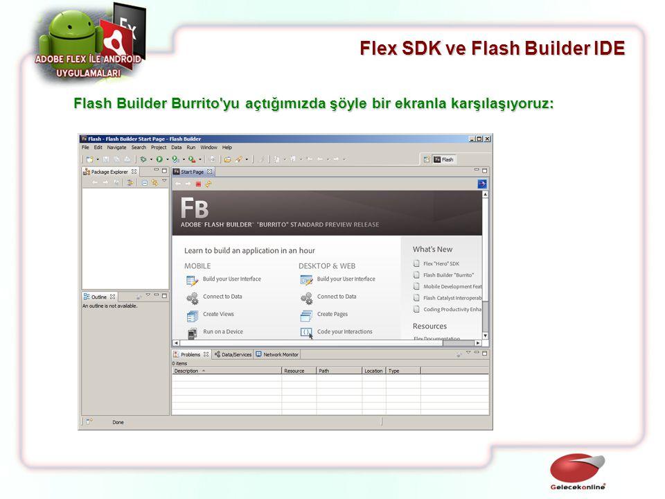 Flex SDK ve Flash Builder IDE Flash Builder Burrito'yu açtığımızda şöyle bir ekranla karşılaşıyoruz:
