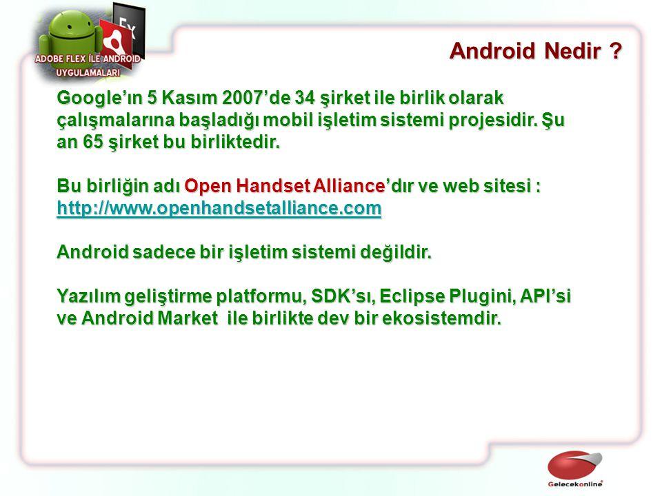 Android Nedir ? Google'ın 5 Kasım 2007'de 34 şirket ile birlik olarak çalışmalarına başladığı mobil işletim sistemi projesidir. Şu an 65 şirket bu bir
