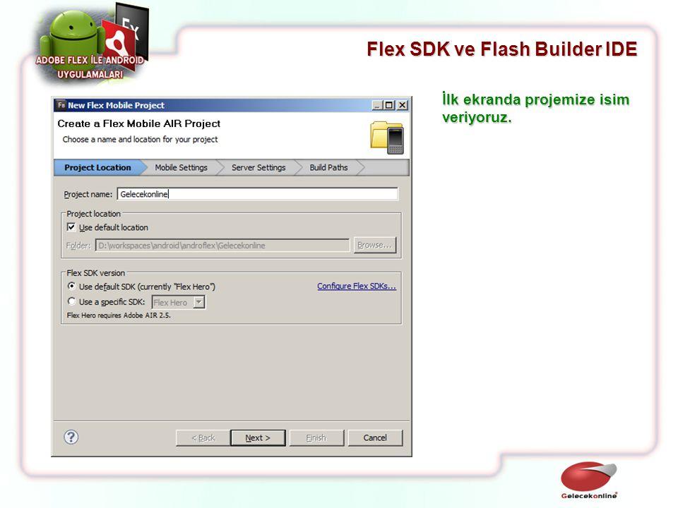 Flex SDK ve Flash Builder IDE İlk ekranda projemize isim veriyoruz.