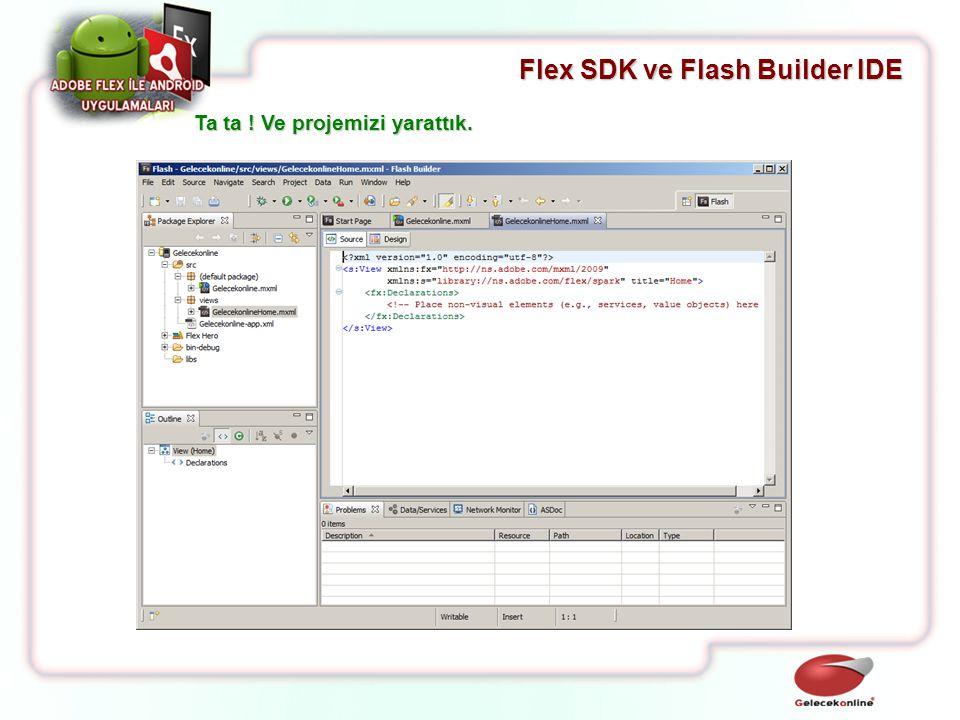 Flex SDK ve Flash Builder IDE Ta ta ! Ve projemizi yarattık.