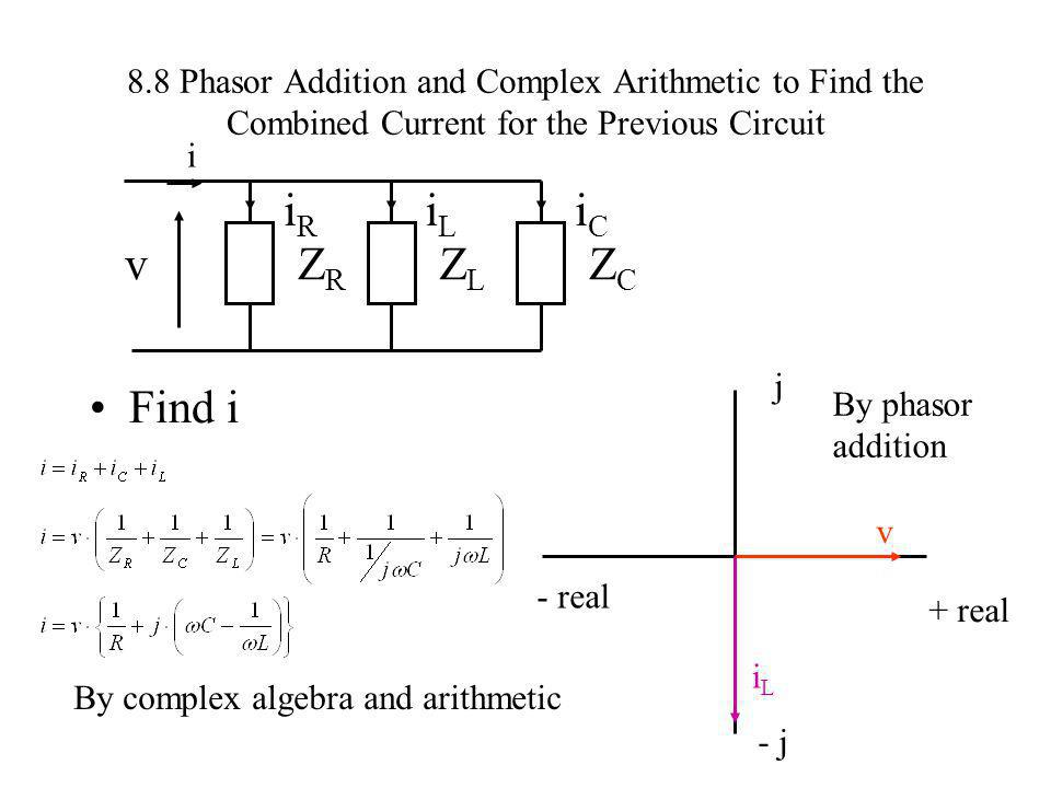 8.8 Phasor Addition and Complex Arithmetic to Find the Combined Current for the Previous Circuit Find i vZRZR iRiR ZCZC iCiC ZLZL iLiL i - real j By c