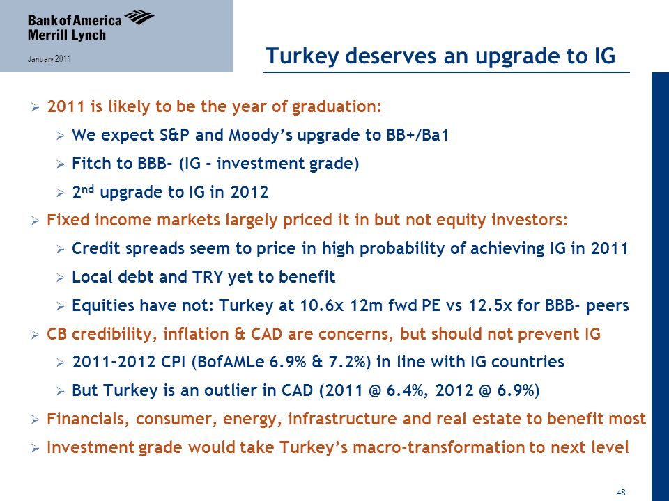 48 January 2011 Turkey deserves an upgrade to IG  2011 is likely to be the year of graduation:  We expect S&P and Moody's upgrade to BB+/Ba1  Fitch to BBB- (IG - investment grade)  2 nd upgrade to IG in 2012  Fixed income markets largely priced it in but not equity investors:  Credit spreads seem to price in high probability of achieving IG in 2011  Local debt and TRY yet to benefit  Equities have not: Turkey at 10.6x 12m fwd PE vs 12.5x for BBB- peers  CB credibility, inflation & CAD are concerns, but should not prevent IG  2011-2012 CPI (BofAMLe 6.9% & 7.2%) in line with IG countries  But Turkey is an outlier in CAD (2011 @ 6.4%, 2012 @ 6.9%)  Financials, consumer, energy, infrastructure and real estate to benefit most  Investment grade would take Turkey's macro-transformation to next level