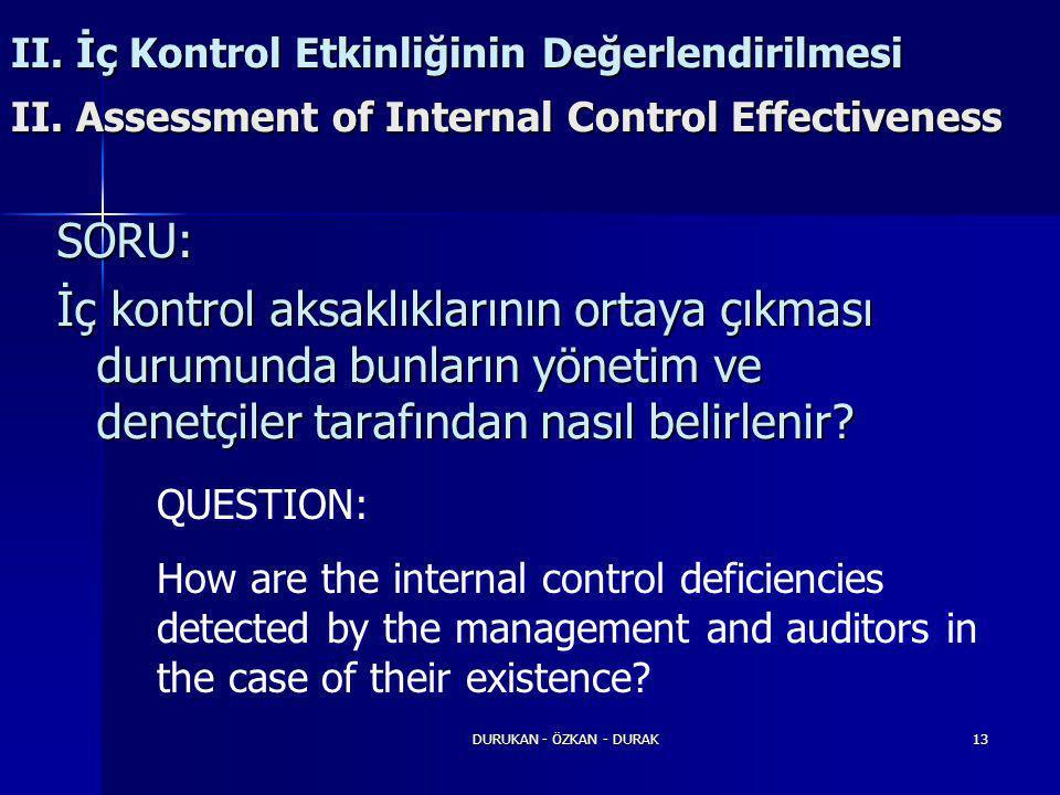 DURUKAN - ÖZKAN - DURAK13 SORU: İç kontrol aksaklıklarının ortaya çıkması durumunda bunların yönetim ve denetçiler tarafından nasıl belirlenir? II. İç