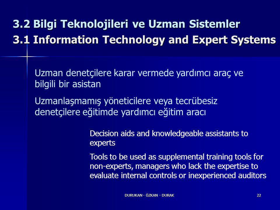 DURUKAN - ÖZKAN - DURAK22 3.2 Bilgi Teknolojileri ve Uzman Sistemler 3.1 Information Technology and Expert Systems Uzman denetçilere karar vermede yar
