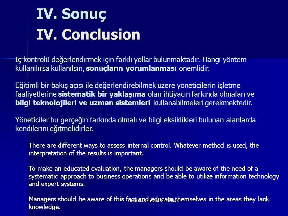 DURUKAN - ÖZKAN - DURAK23 IV. Sonuç IV. Conclusion İç kontrolü değerlendirmek için farklı yollar bulunmaktadır. Hangi yöntem kullanılırsa kullanılsın,